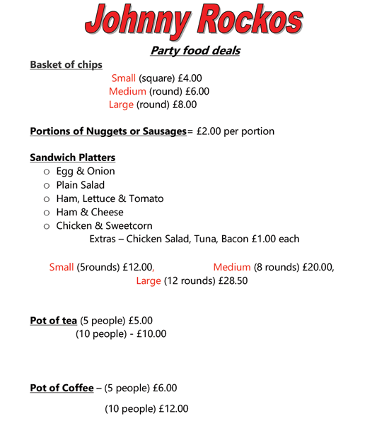 The Rambling House Diner Menu, Johnny Rocko's, Irvinestown
